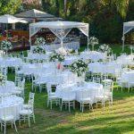 Outdoor wedding reception. Wedding decorations