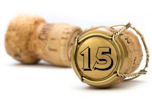 Champagnerkorken Jubiläum 15 Jahre